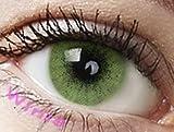 Farbige Kontaktlinsen 3 Monatslinsen hellgrün eis grün 'Icy Green' gute Deckkraft ohne Stärke mit Aufbewahrungsbehälter