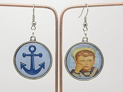BOUCLES D'OREILLES style rétro et vintage AVEC CABOCHON THÈME mer et marin option clip ou oreille percées