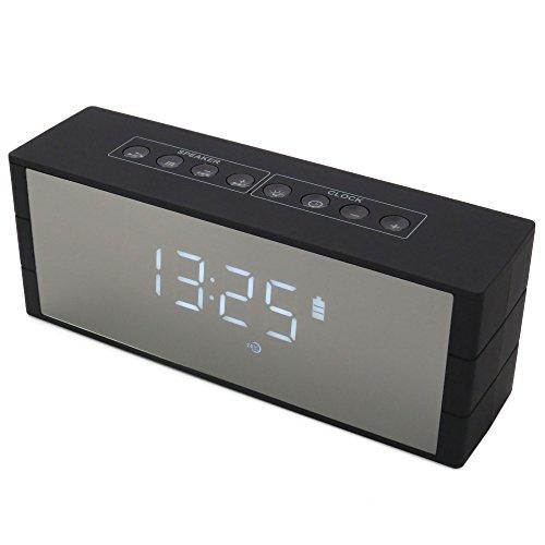 ONVAYA® Bluetooth Lautsprecher mit Digitaluhr | 12 Stunden Akku Spielzeit & 7 Tage Standby | AUX Micro SD USB MP3 | Freisprecheinrichtung | Musikstreaming | Sound Box | Radio | Tischuhr