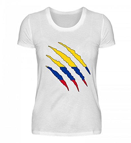 PlimPlom Hochwertiges Damenshirt - Kolumbien WM Fan Tshirt Kolumbianische Nationalmannschaft Shirt Trikot