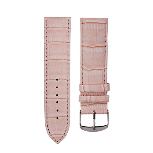 Dasongff 18mm Ersatz Uhrenarmbänder Uhrenarmband hochwertige Weiche Schweißband Lederband Stahl Schnalle Armbanduhr Band Uhrenband (Rosa)