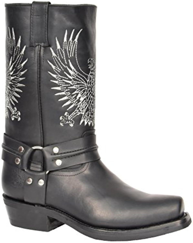 A1 FASHION GOODS Herren Schwarz Leder Cowboy Biker Stiefel Rutsch auf Quadratische Zehe Entwerfer Schleifmaschinen