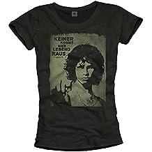 Vintage Musik Shirt für Damen KEINER KOMMT HIER LEBEND RAUS Woodstock schwarz Größe S M L