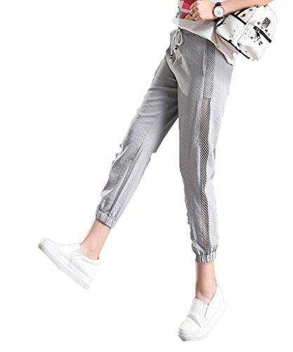 Bigood Sport Lâche Pantalon Femme Jointif Hollow-out Harlan Casual Gris