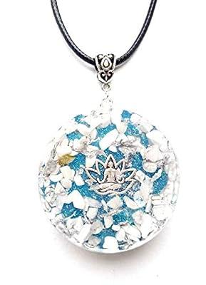 pendentif en orgonite, fleur de lotus, yoga.Howlite. Nouvel Age, Reiki