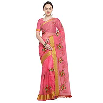 Sidhidata Textile Women's Organza Flower Embroidery saree With Unstitched Blouse Piece(organza flower pink_Pink_Free Size)
