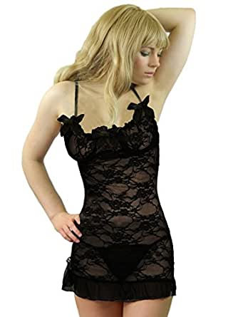 Yummy Bee Babydoll Dress Set Bridal Lace Nightwear Lingerie Sleepwear G String Plus Size 8 - 24 (Black,8)