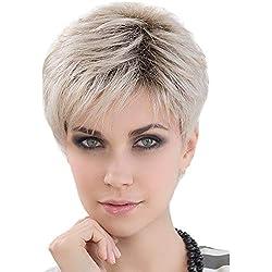 Asifen Pelucas de cabello humano natural corto de para pelucas rubias con flequillo