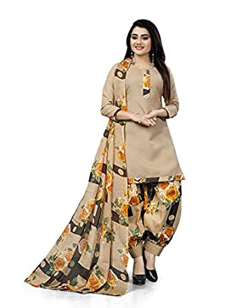 Rajnandini Beige Cotton Salwar Suit For Women (Ready To Wear)(One Size)