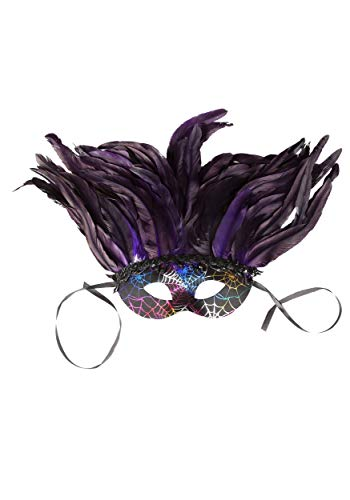 Deluxe Mardi Gras Mask - BAUER PACIFIC Deluxe Feather Mardi Gras