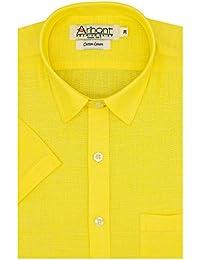 Arihant Men's Plain Half Sleeves Reguler Fit Cotton Linen Formal Shirts