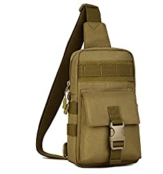Huntvp Tactical Chest Sling Bag Crossbody Shoulder Bag Pack For Outdoors Brown