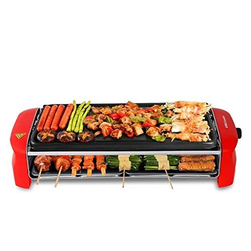 Seeksungm grill elettrico, grill elettrico pan, antiaderente trattamento di superficie barbecue, tavolo 1350w electric grill, dimensioni: l 52.5 cm * l 20,6 centimetri * h11cm