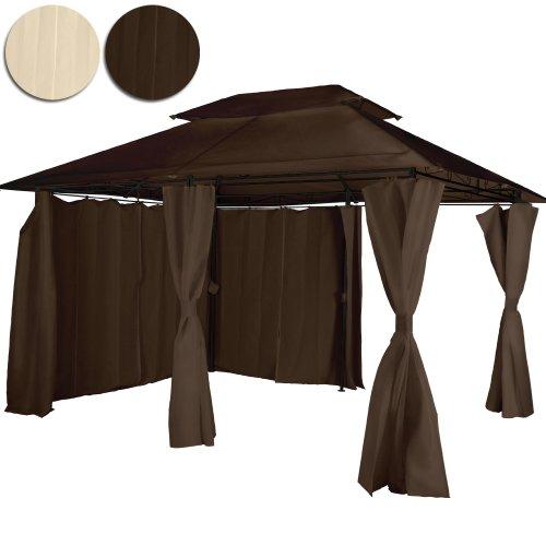 Miadomodo Gazebo giardino tendone giardino con doppio tetto 3 x 4 colore marrone