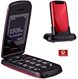TTfone Star Big Button Simple Easy To Use Clamshell Flip Mobile Phone with Vodafone Pay as You Go - Red