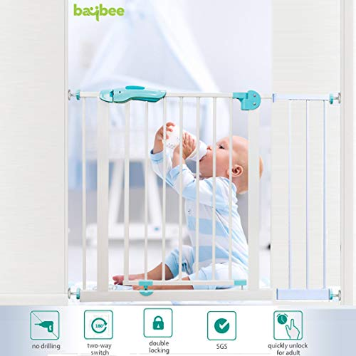Baybee Auto Close Safety Baby Gate-Extra Tall Durable Dog Gate with Extension Door 75 cm x 85 cm -Easy Walk-Thru Child Gate for House, Stairs, Doorways Protective Lock-Safety Gate for Kids infants and Babies