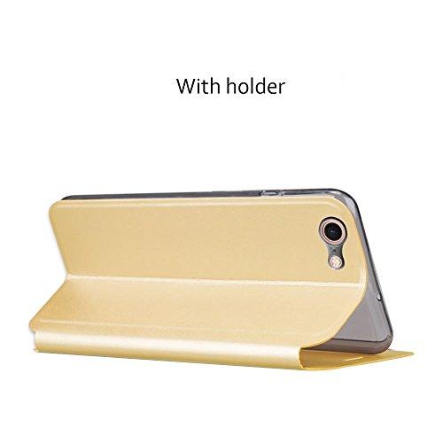 Wkae MOFI PU Fünf-spitzes Stern-Muster-horizontales Schlag-Leder-Kasten mit Halter für iPhone 7 ( Color : Rose gold ) Rose gold