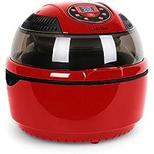 Klarstein VitAir • friggitrice ad aria • 1400 Watt • camera cottura 9 L • grill • tostatura • riscaldatore alogeno a infrarossi • programmi automatici • display LCD • strato antiaderente • rosso