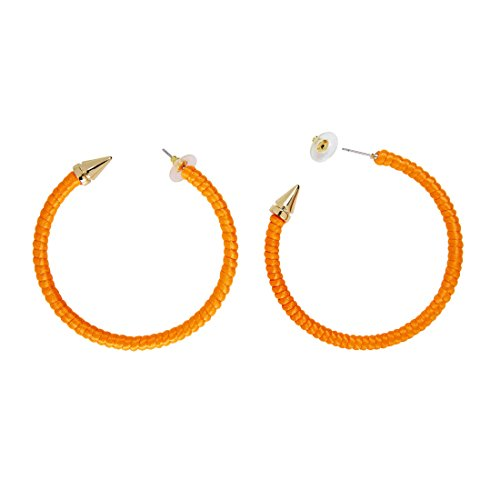 Amakando Modeschmuck Creolen 80er Jahre Ohrringe neon-orange Mode Ohrclips 80s Damen Schmuck Kostüm Zubehör Damen Party Ohrstecker Damenohrringe (80er Jahre Modeschmuck)