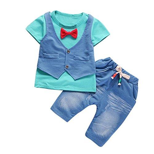 Babybekleidung,Resplend Kleinkind Kind Baby Junge Outfits Kurzarm-T-Shirt + Hose Gentleman-Kleidung-Set Junge Weste Fake zwei Bekleidungssets Babyanzug (Blau, 24M) (Kleid Für Shirt Jungen)