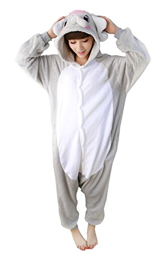 Tier Onesie Grau Elefant Pyjama Kostüme Kigurumi Schlafanzug Erwachsene Unisex Mann Dame Cosplay Jumpsuit M