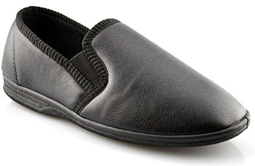Herren Neu In Karton Ohne Bügel Kunstleder Twin Gusset Slipper Schuhe Größe 6-14 Schwarz