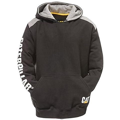 Caterpillar Mens Logo Panel Hooded Sweashirt Hoodie Black