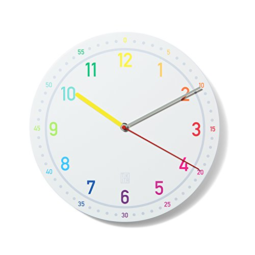 Kinderwanduhr Rainbow   Tikita   30 cm Durchmesser   Die perfekte Kinderuhr & Kinderlernuhr  geräuscharmes Uhrwerk  Made in Germany (Rainbow)