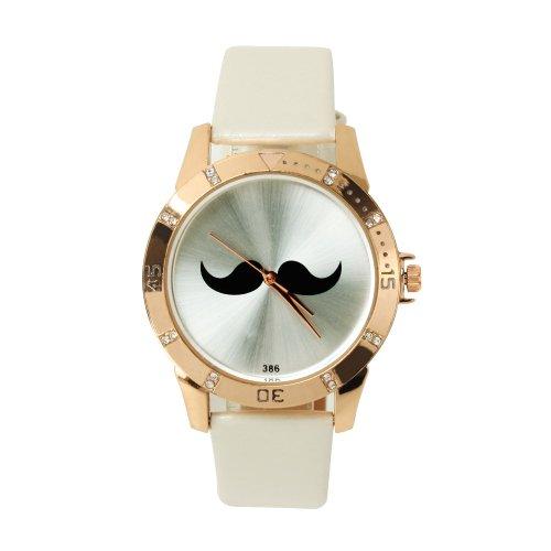 SSITG Uhr Quarz Bart Armbanduhr Uhr Trend Blogger Retro Vintage Watch Geschenk Gift SS00151 (Uhr Rocker)