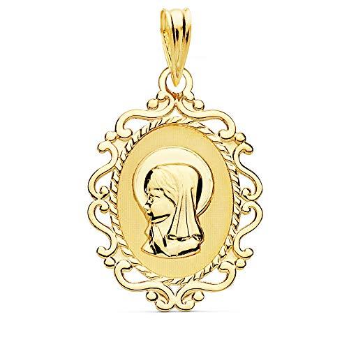 Colgante Oro 9K Medalla Oval 23mm. Virgen Niña Liso Cerco Formas Calado - Personalizable - Grabación Incluida En El Precio