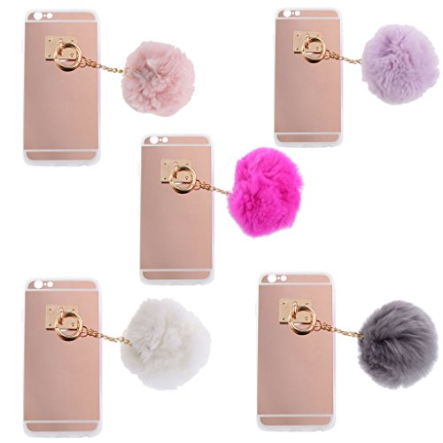Handy Hülle Schutzhülle Hart Case Back Cover mit Künstliche Plüsch Ball Hairball Anhänger für iphone 6 6s - Grau Lila