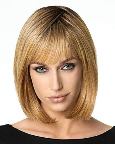 """Queentas 10 \""""Kurze Blonde Bob Gerade Synthetische Haar Perücke mit Bang & Perücke Cap für Damen Mädchen"""