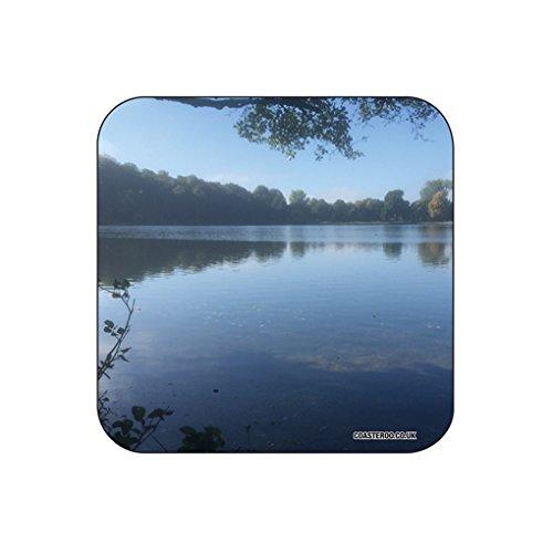 Wollaton Hall Lake–Original Fotografieren, Getränke, Untersetzer, durch coasteroo–aus Hartfaserplatte/Gloss Finish