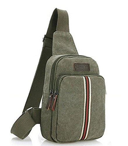 HENGSONG Herren Umhängetasche Kleine Leinwand Freizeit Messenger Bag Schultertasche Rucksack Reisen Wandern Taschen Grün