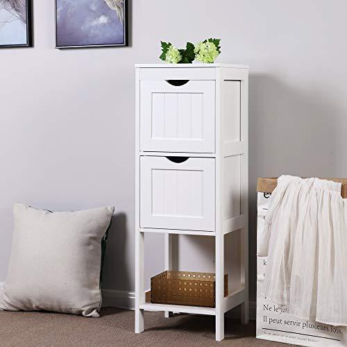 Vasagle armadietto da terra in legno per il bagno comodino per medicine autoportante mobile ad angolo con 2 cassetti bianco bbc42wt
