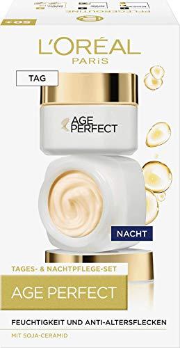 L'Oréal Paris Anti-Aging Feuchtigkeitspflege, Tag und Nacht Gesichtspflege Geschenkset, Age Perfect gegen Altersflecken