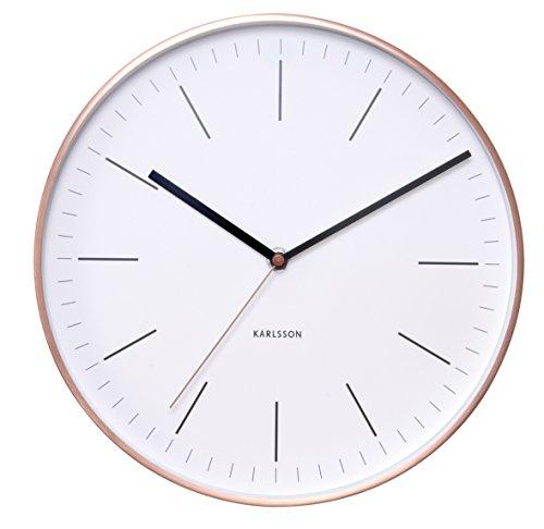 Karlsson KA5507WH Wanduhr Minimal mit Rahmen, Metall, weiß / kupferfarben, 5 x 27.5 x 27.5 cm Silent Wall Clocks