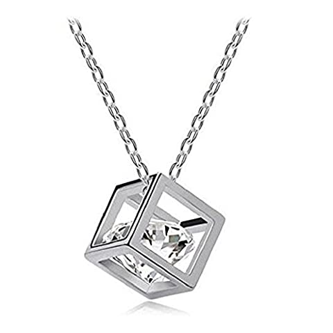 Necklace,JACKY Women's Crystal Rhinestone Chain Square Pendant Necklace (Silver)