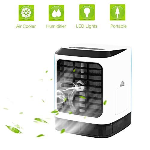 HELIn Mini-Kühler, tragbarer Luftklimaanlage, Luftbefeuchter, 4 in 1 Desktop mit 7 Farben Buntem Licht