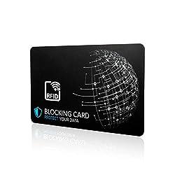 RFID Blocker Karte NFC Schutzkarte - Störsender-Technologie 2020 - zum Schutz vor Datendiebstahl - extra dünne Karte mit 0,9mm geeignet für Jede Geldbörse - Kartenschutz | NFC Schutz