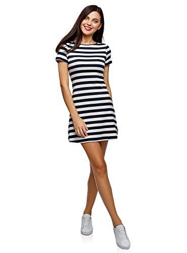 oodji Ultra Damen A-Linie-Kleid mit Rundem Ausschnitt, Blau, DE 40 / EU 42 / L -