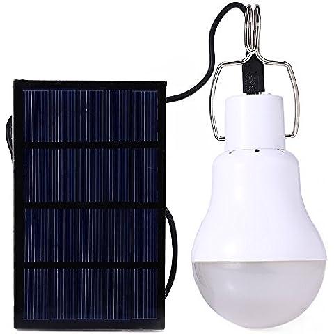 Purposefull 15W solare Lampadina - lampadina principale portatile con pannello solare - Utilizzo in giardino, campeggio, corsa esterna 5-6 ore di uso