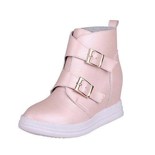 VogueZone009 Damen Weiches Material Schnüren Rund Zehe Mittler Absatz Knöchel Hohe Stiefel, Pink, 36