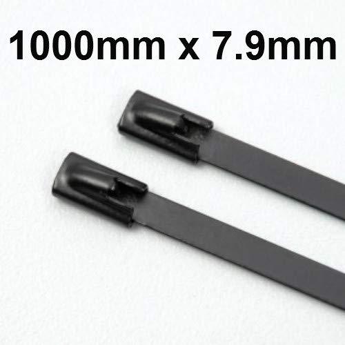 Kabelbinder, Edelstahl, Marine-Qualität, 1000 x 7,9 mm, beschichtete Packungen -