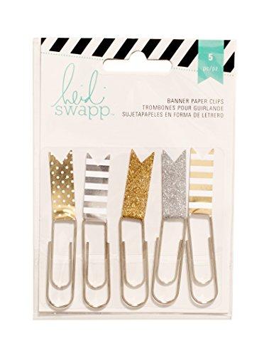 american-crafts-heidi-swapp-10268595-schablone-zum-papier-flagge-clips-25-gold-silber-acryl-mehrfarb