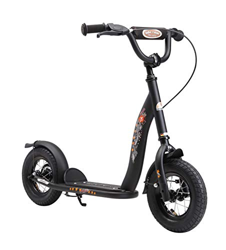 BIKESTAR Roller Kinderroller Tretroller Kickscooter mit Luftreifen für Jungen und Mädchen ab 4-5 Jahre ★ 10 Zoll Classic Kinder Scooter ★ Schwarz (matt)