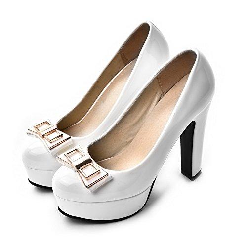 AgooLar Femme Rond à Talon Haut Matière Mélangee Couleur Unie Tire Chaussures Légeres Blanc