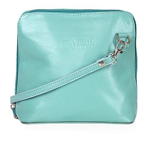 Mayfair Cashmere Made in Italy - 100% italienisches Leder Handgefertigte Kleine/Mini Cross Body/Schulter Handtasche/Clubbing Bag-Design 2018 - Aqua - Body Bag Handtasche