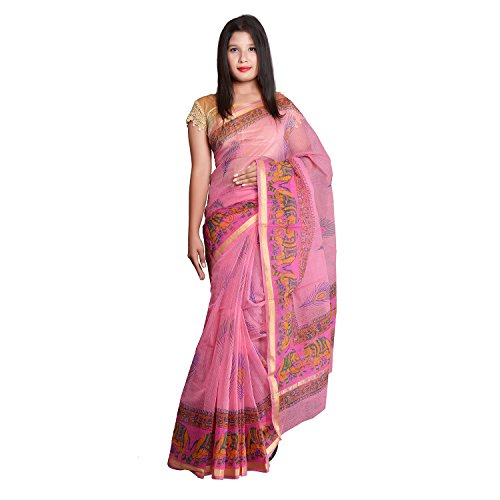 Panvi Kota Doria Cotton Silk Saree with Blouse Piece (P-49 Hand Block...