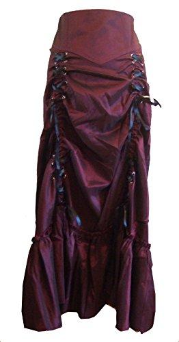 Burgund (Red, 3 Ways Frieda) Vielseitig, Gothic/Steampunk Stil Rüschenrock mit Korsett Schnürung. Größe (Plus Tutu Red Größe)
